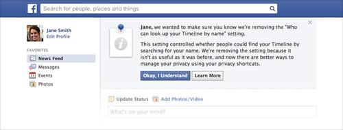 """Facebook's reminder it will remove the """"Who can look up your Timeline by name' setting"""