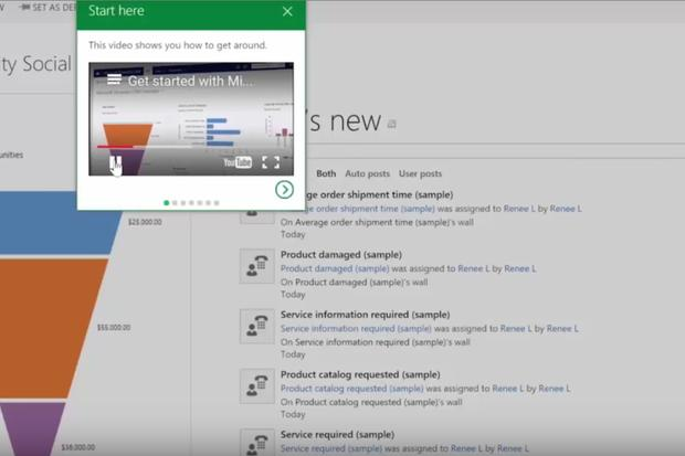 Guided navigation features in Dynamics CRM 2016's spring wave help onboard new users. Credit: Microsoft