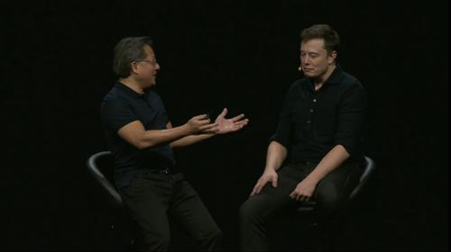 Nvidia chief executive Jen-Hsun Huang interviews Tesla Motors founder Elon Musk at the Nvidia GPU Technology Conference 2015.