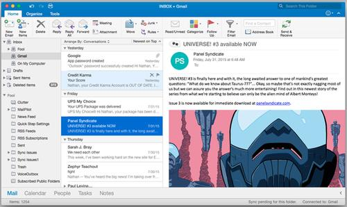 Cluttered icons aside, Outlook 2016 gives its interface a modest but appealing update.