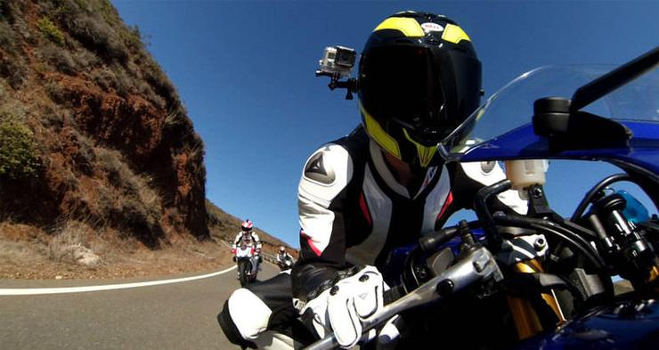 GoPro camera mounted to a motorcyclist.