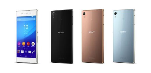 Sony Xperia Z4 (from left: White, Black, Copper, Aqua Green)