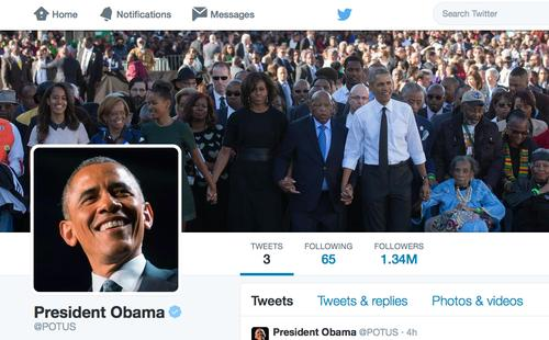 President Barack Obama started tweeting from the @POTUS account on May 18, 2015