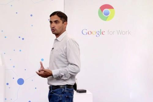 Google's Rajen Sheth at the Chrome for Work event Wednesday