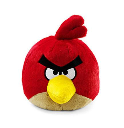 The red Angry Bird plush toy by Rovio.