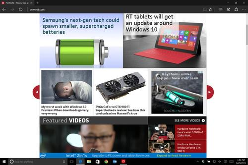 Microsoft Edge's dark theme on Windows 10 build 10158