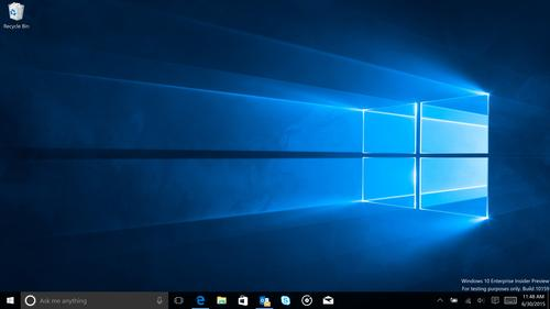 The Windows 10 desktop on build 10159