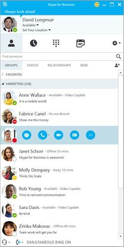 The Skype for Business app