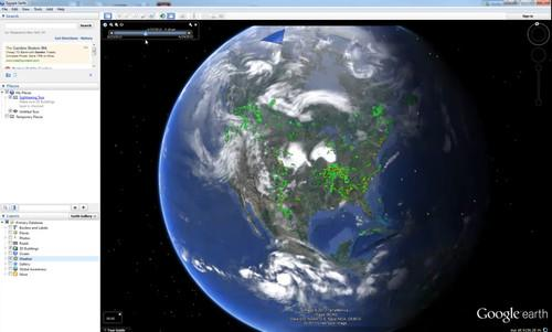 By selecting the weather layer on Google Earth users can see real time radar, clouds and temperatures on the virtual globe.