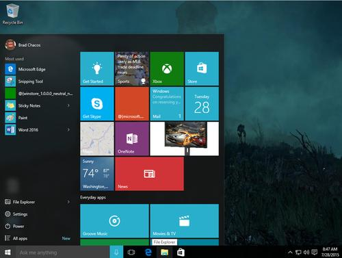 Windows 10's Start menu blends Windows 7's feel with Windows 8's Live Tiles.