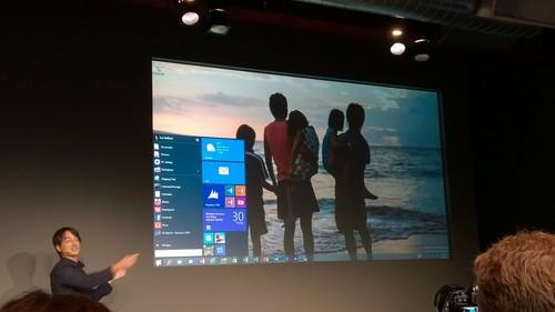 Microsoft's Joe Belfiore showing off Windows 10's reborn, revamped Start Menu.