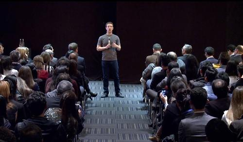 Facebook CEO Mark Zuckerberg, speaking during the company's first international town-hall meeting in Bogota, Colombia.
