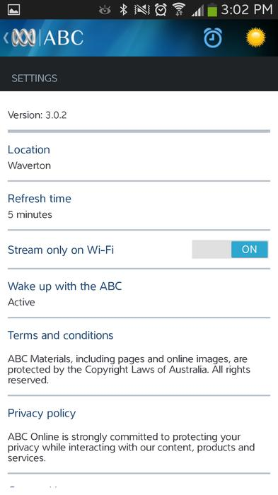 The settings page of the ABC Android app.