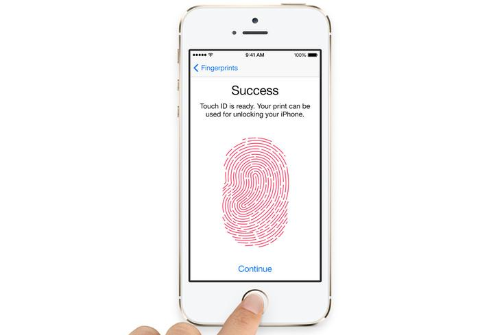 "The iPhone 5s includes a ""touch ID"" fingerprint reader."