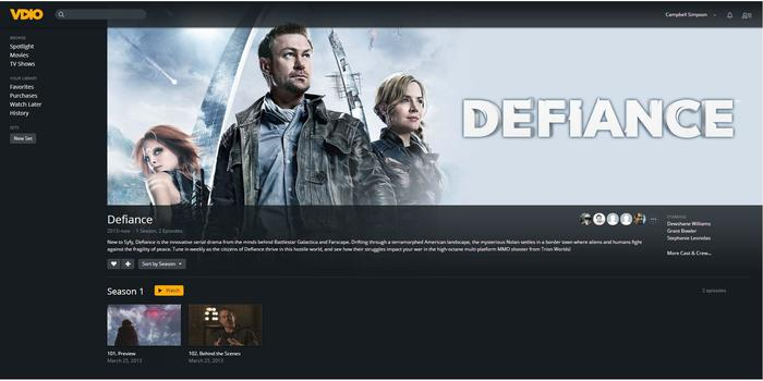A screen for each TV series shows a series description, actors, and a list of episodes available.