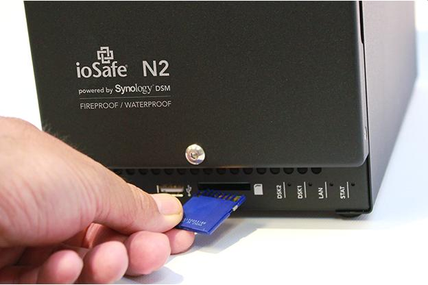The front ports, buttons and lights of the ioSafe N2.