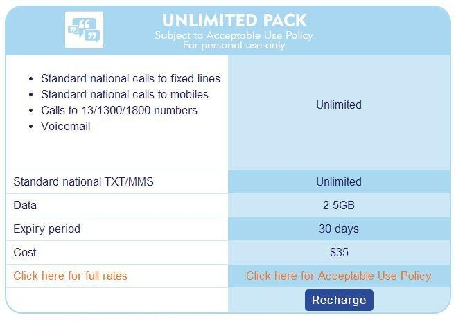 Aldi's new unlimited plan, as shown on the MVNO's Web site.
