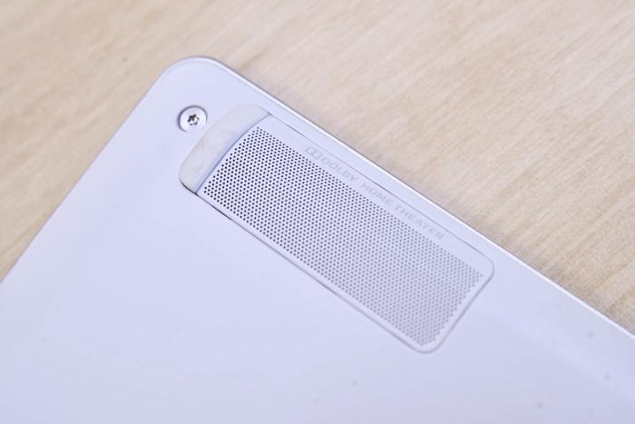 The speakers are located on the underside and can be easily blocked. But when they aren't blocked, they sound great.