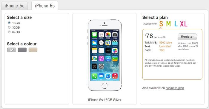 Telstra's cheapest option for the 16GB iPhone 5s will cost $78 per month.