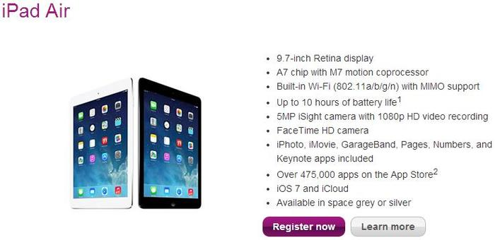 The iPad Air, as it appears on Telstra's Web site.
