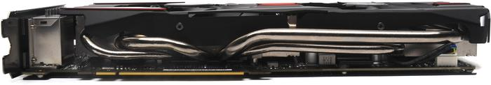 The lower edge of the GTX 780 DC2OC. You can see the four secondary heatpipes for cooling the GPU.