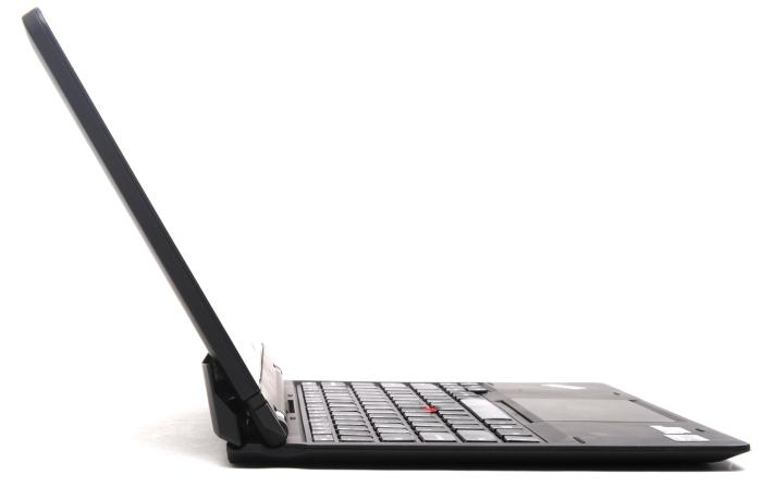 The tablet sitting in its keyboard dock and leaning all the way back.