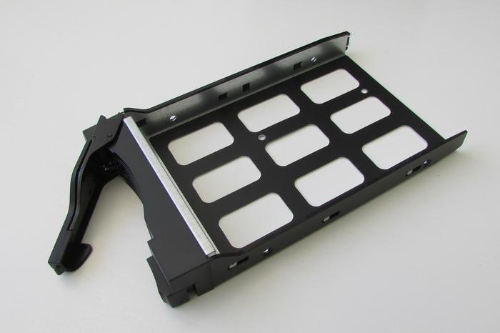 The drive caddies are lightweight plastic-and-metal, without any electronics.