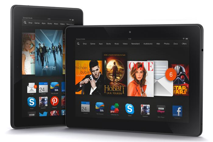 "The 7"" Kindle Fire HDX (left) and the 8.9"" Kindle Fire HDX."