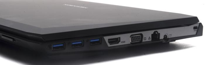 The right side is where all the action is: three USB 3.0 ports, HDMI, VGA, Gigabit Ethernet, power, and a cable lock facility.