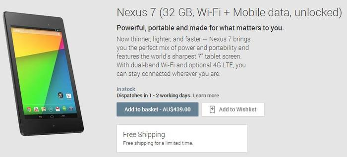 Google is now selling the 32GB LTE model of the Nexus 7 through the Play Store.