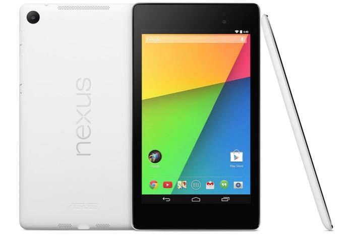 The white variant of Google's Nexus 7 (2013) tablet.