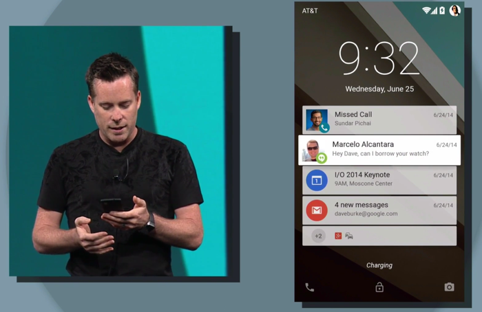 Dave Burke sifting through notifications on the homescreen