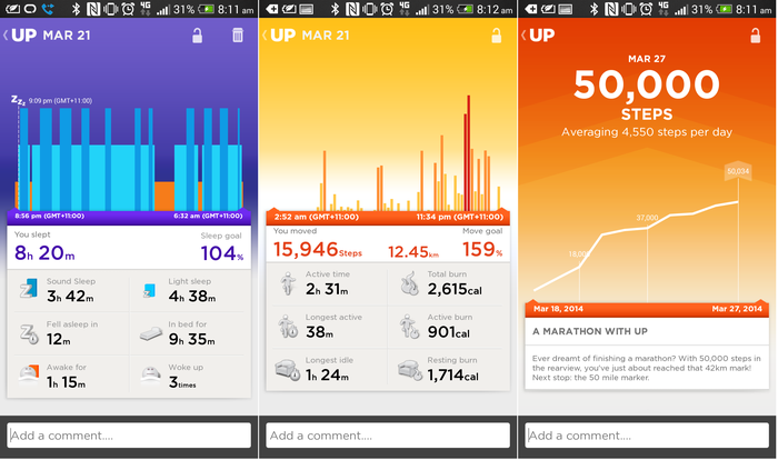 Light and deep sleep information; activity information, and; a milestone notification
