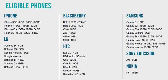 Eligible smartphones for the Optus Trade In, Trade Up offer.
