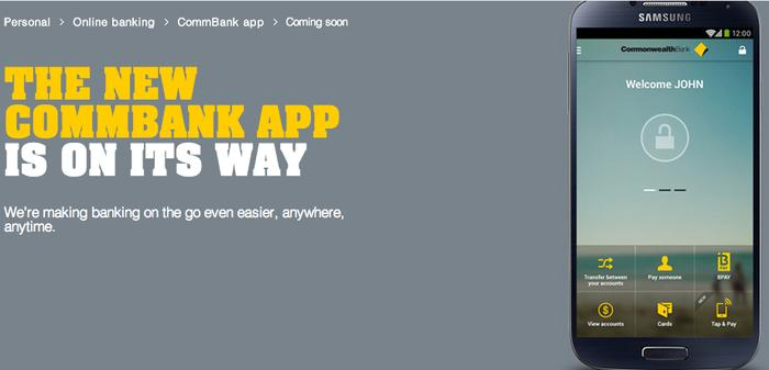 The new CommBank app, as it appears on the bank's website.