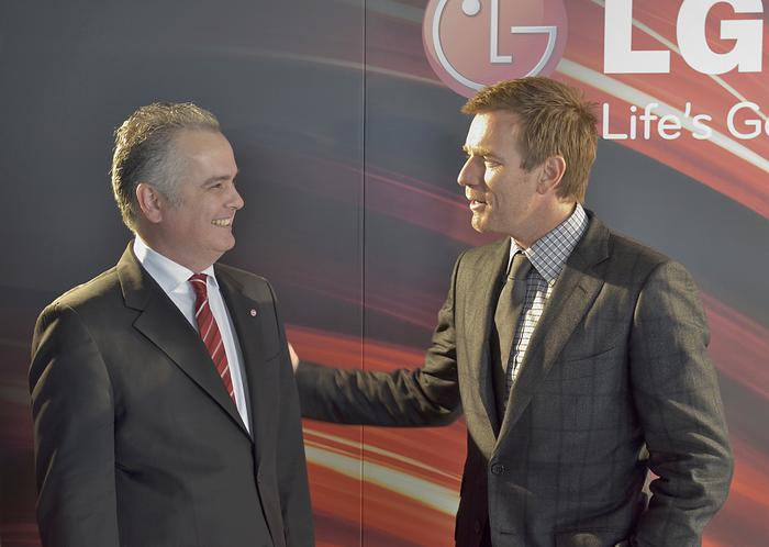 Ewan McGregor greeting LG marketing general manager Lambro Skropidis.