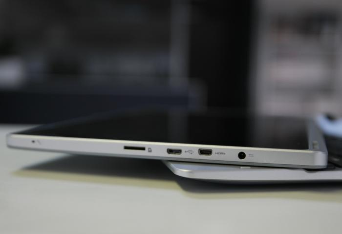The left side of the tablet has the power connection, micro-HDMI, microUSB, and microSD slots.