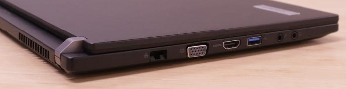 On the left side you get Gigabit Ethernet, VGA, HDMI, USB 3.0, headphone and microphone ports.