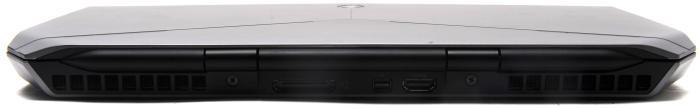 Rear view: air vents, Graphics Amplifier port, Mini DisplayPort, HDMI.