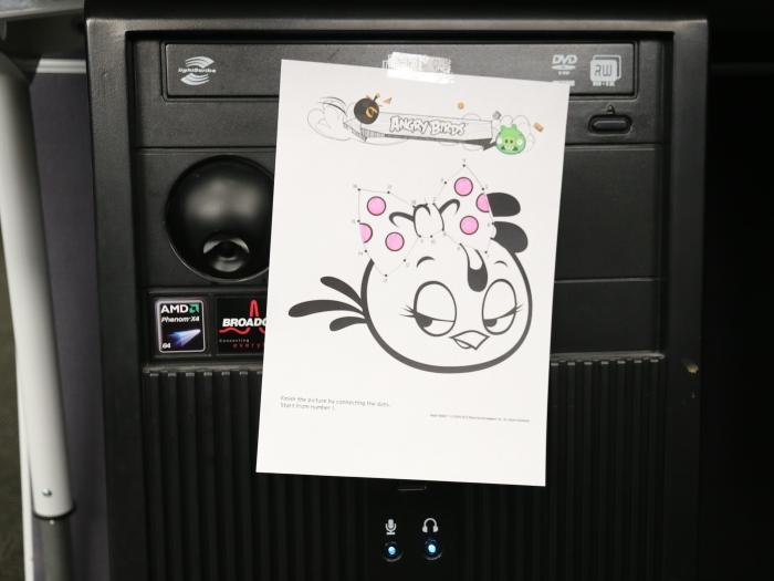 One of the Angry Birds dot-to-dot printouts (completed and coloured by a colleague). We stuck it to our HP server fridge.