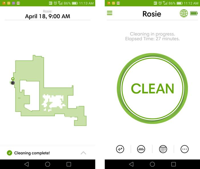 The app sends a map of each of Rosie's cleaning tours. The speckled area shows that we didn't lift all the chairs onto the dining table. The big Clean button acts as one, big, internet connected remote.