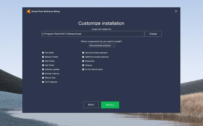 Avast supplies a long list of optional modules to install as part of its free security software