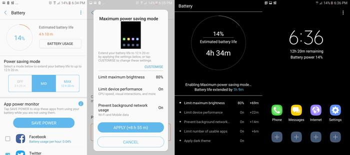 Samsung's excellent battery saving modes can add many hours to a dwindling battery. It even leaves you with a usable smartphone in Max Power Saving mode.