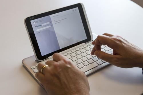 Acer's Bluetooth keyboard works well, although some may not enjoy working with a tablet.