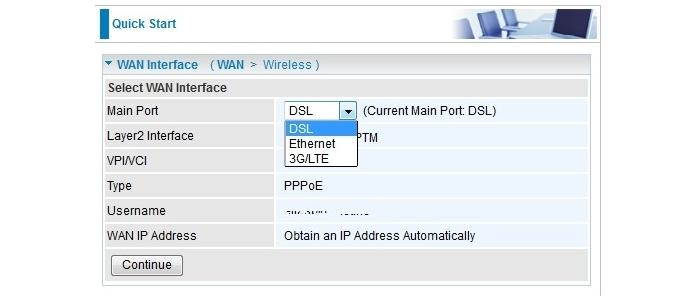 You select the default WAN interface easily from the Quick Start page, but it's best to leave it on DSL. The router will switch to 3G/LTE if the DSL even goes down.