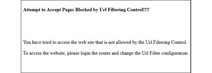 This is the message that appears in the browser when the keyword URL filer is triggered.