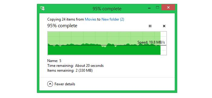 Transferring large files (6.2GB worth of movie files) across a 15m distance.