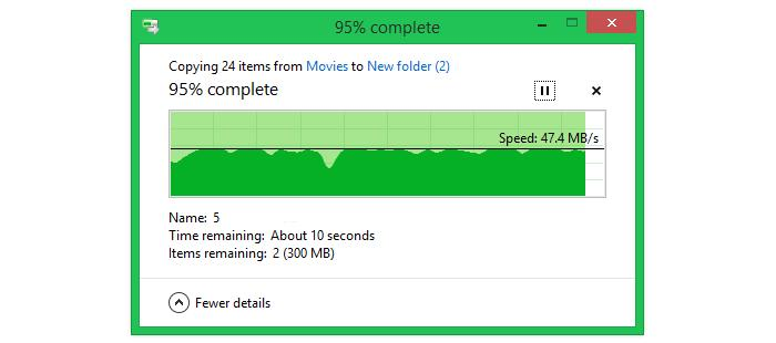 Transferring large files (6.2GB worth of movie files) across a 3m distance.