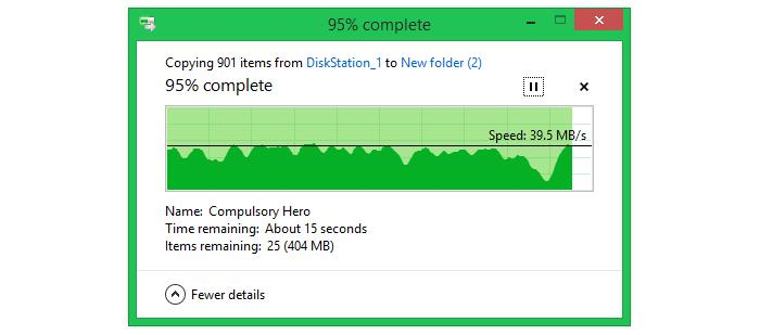 Transferring small files (8.4GB worth of MP3s and FLAC files) across a 3m distance.
