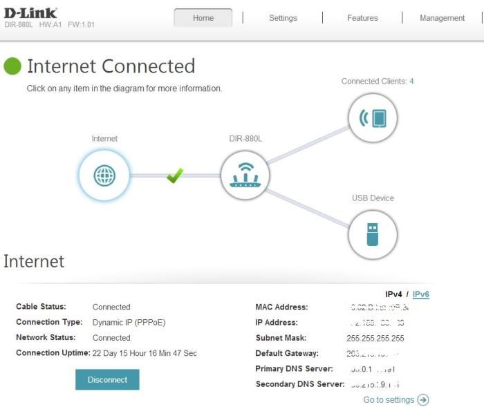 The main page offers a quick snapshot of your network.